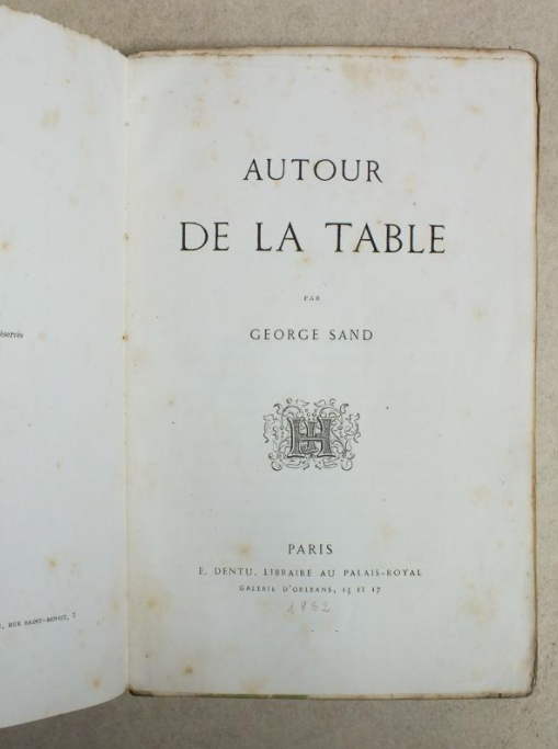 Autour de la Table, edition originale