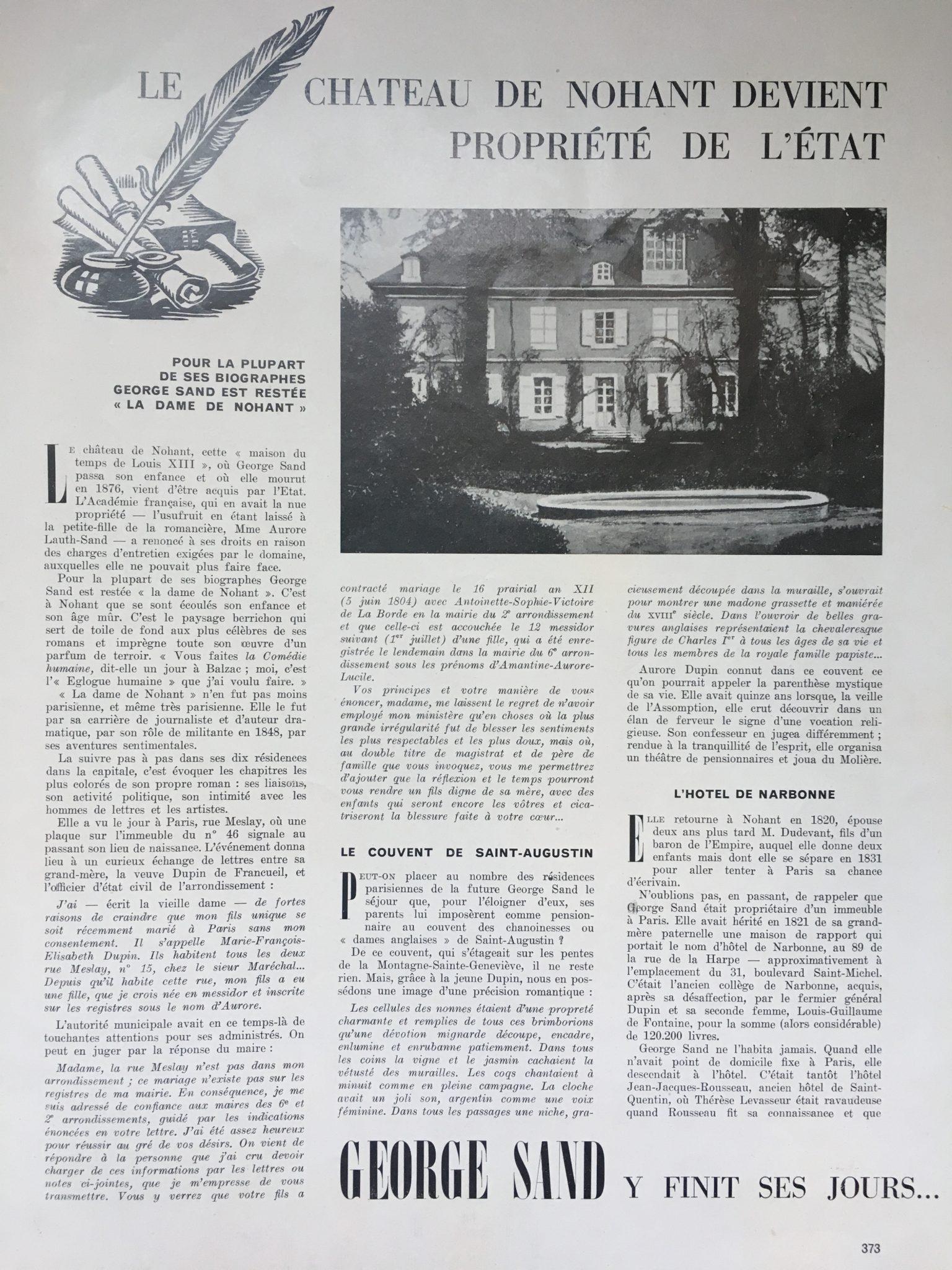 Les différents domiciles de George Sand