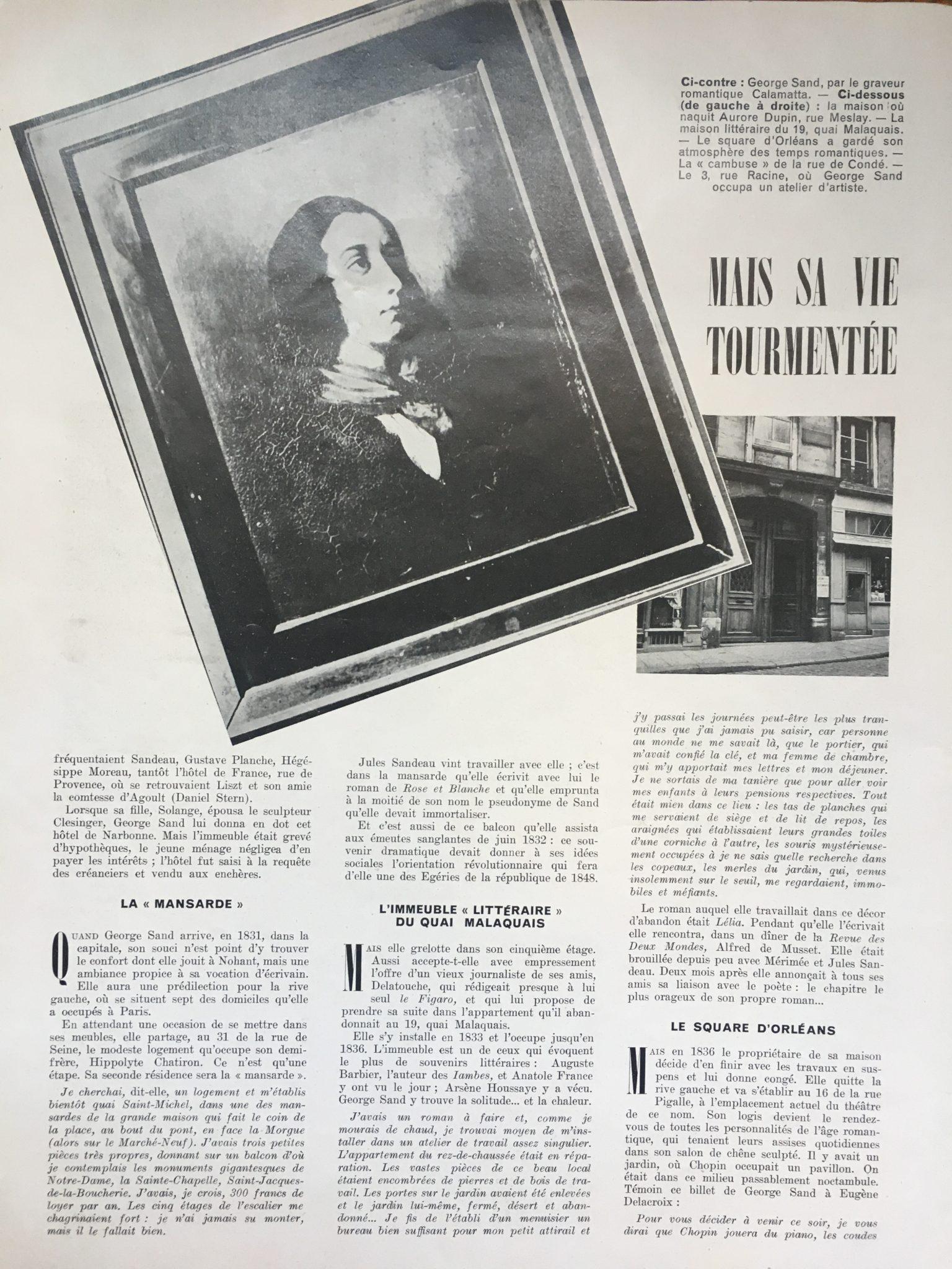 Les domiciles de George Sand à Paris