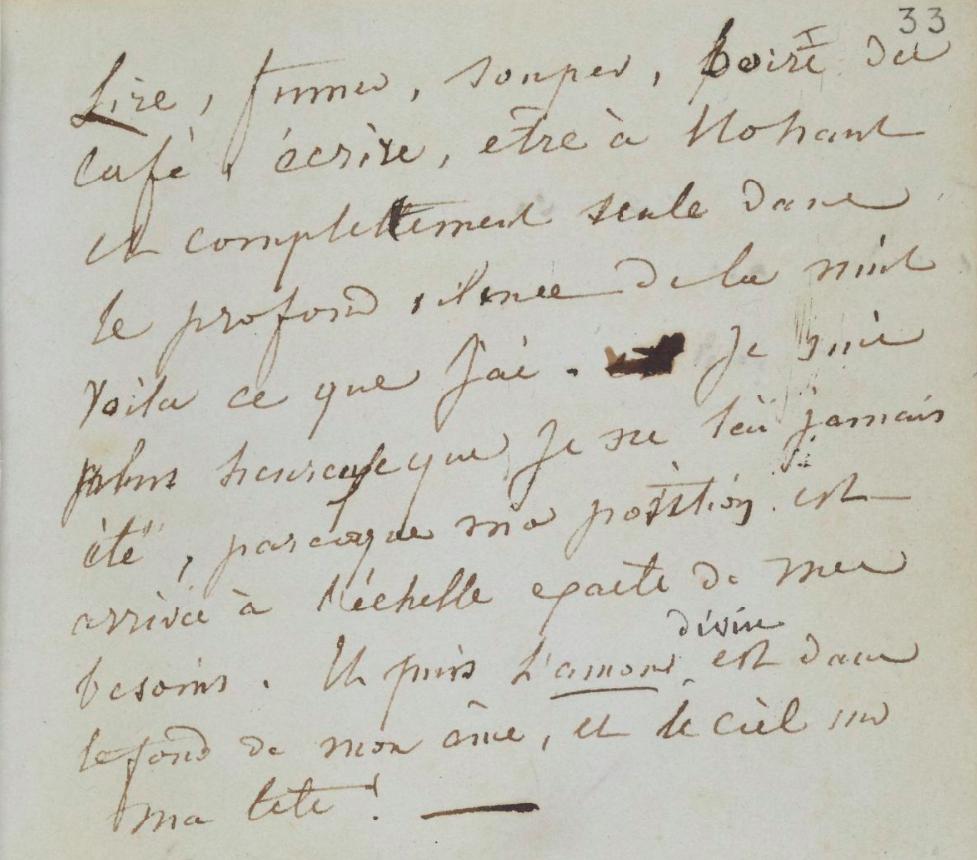 Page manuscrite pensées littéraires