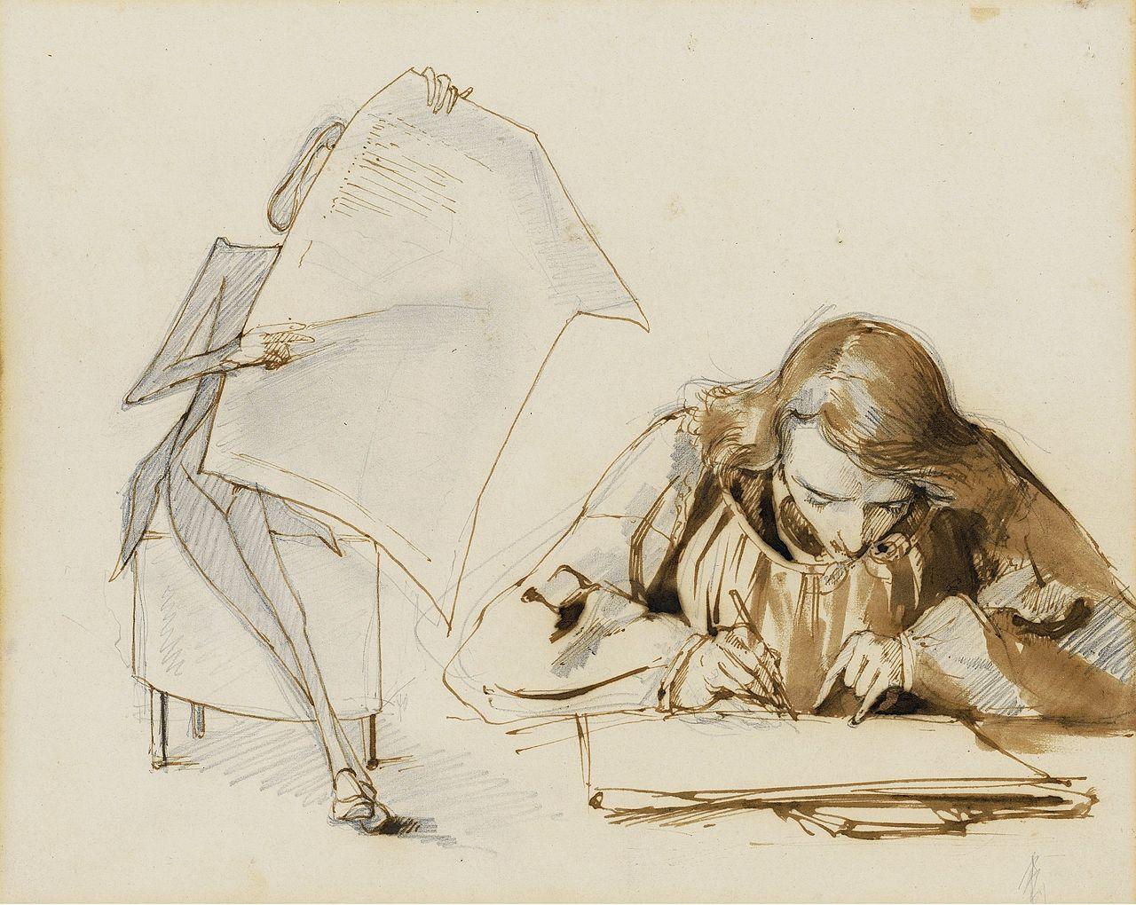 Pauline Viardot-Frédéric-Chopin en train de lire Maurice_Sand dessinant