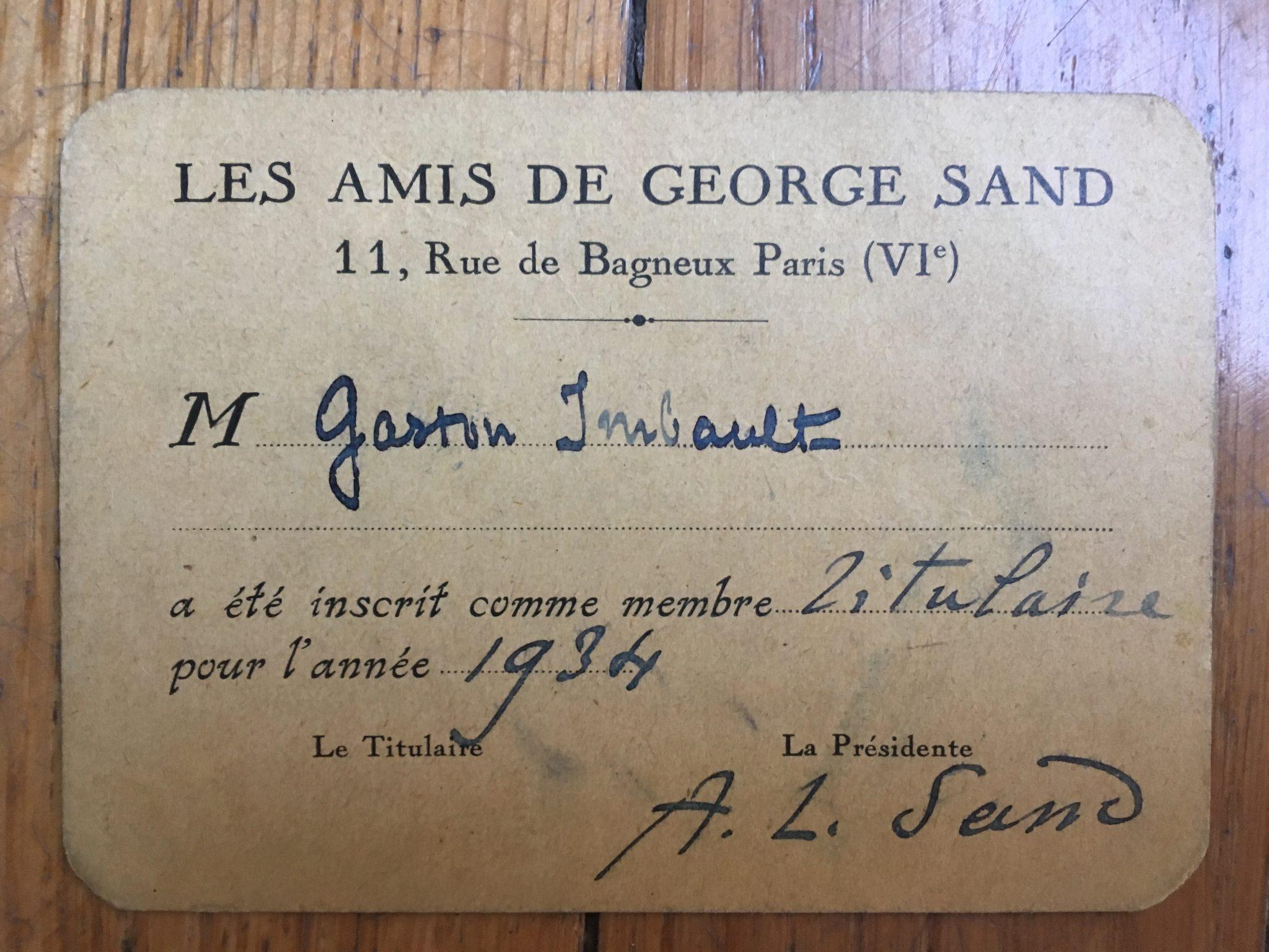 Carte des adhérents des amis de George Sand