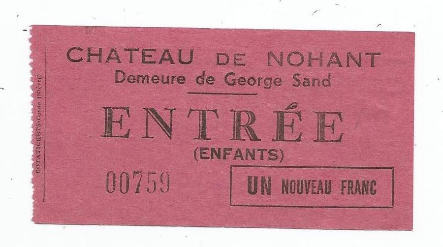 Ticket d'entrée Nohant enfants