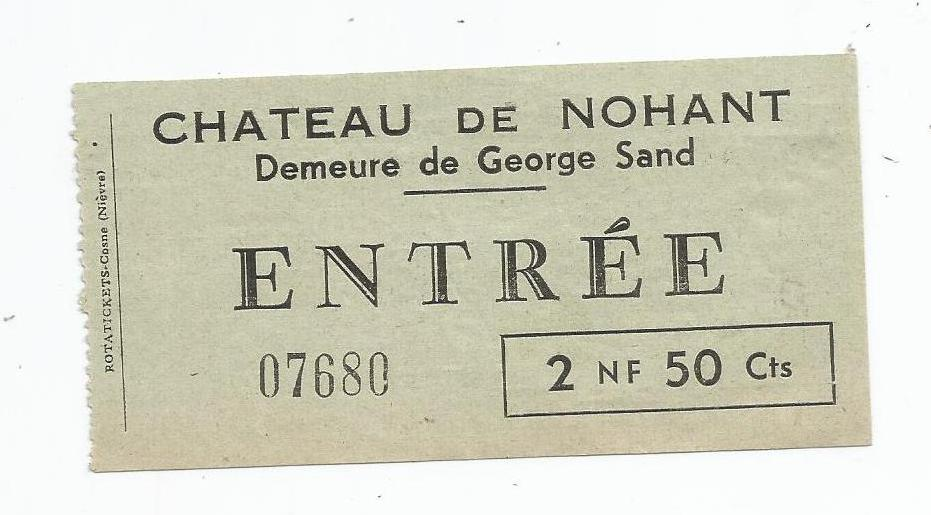 Ticket d'entrée Nohant