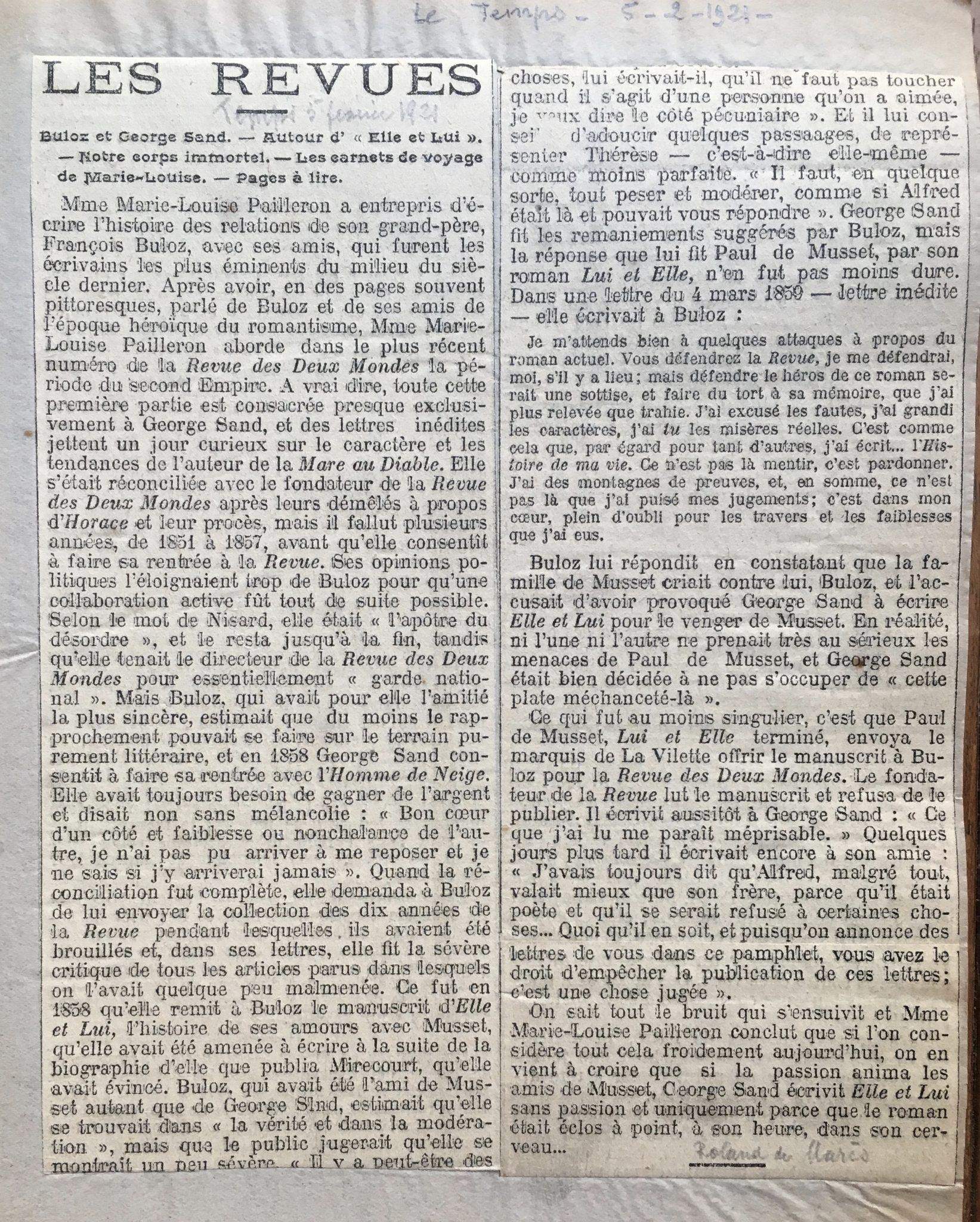 Le Temps 1921