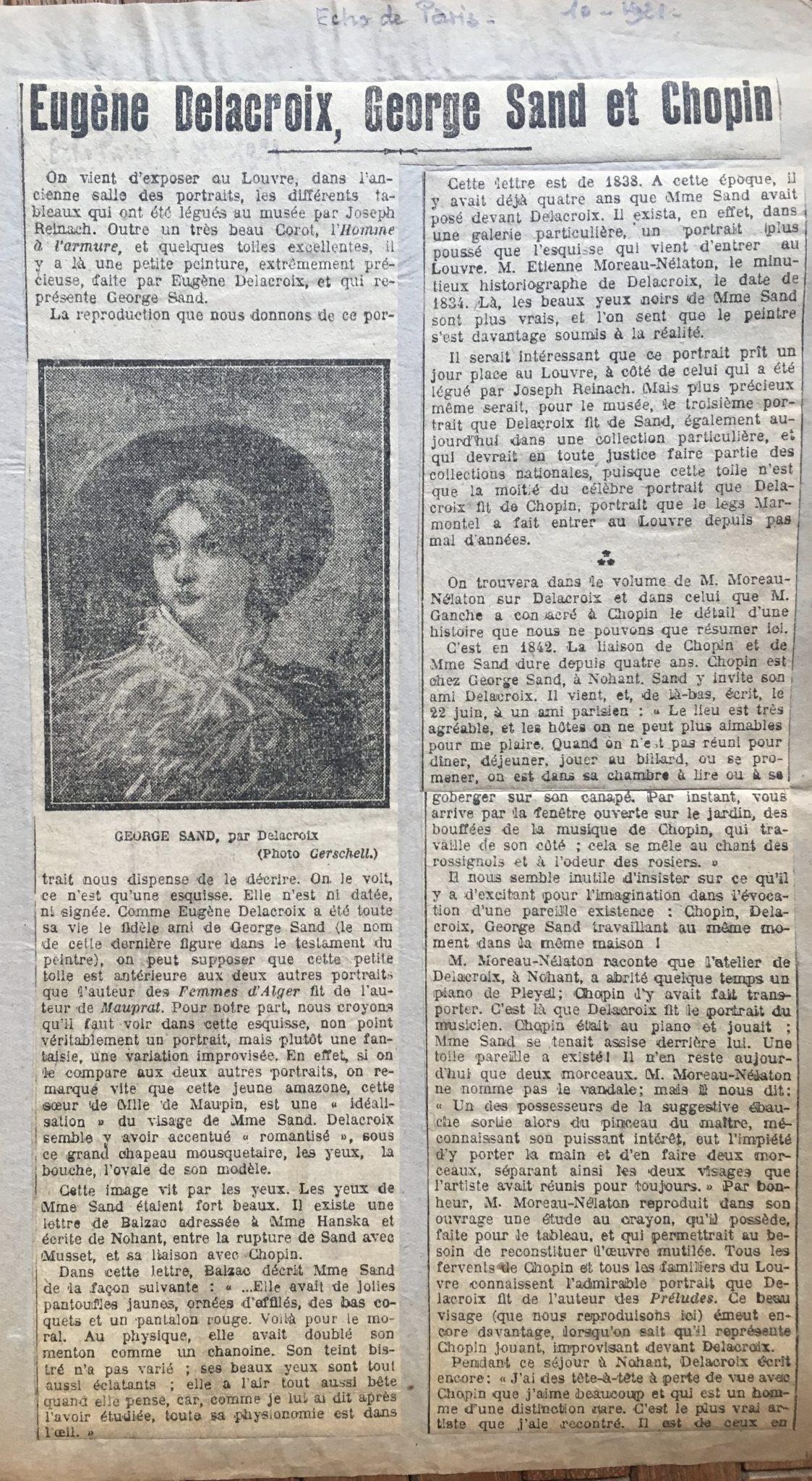 Delacroix, George Sand et Chopin 1921