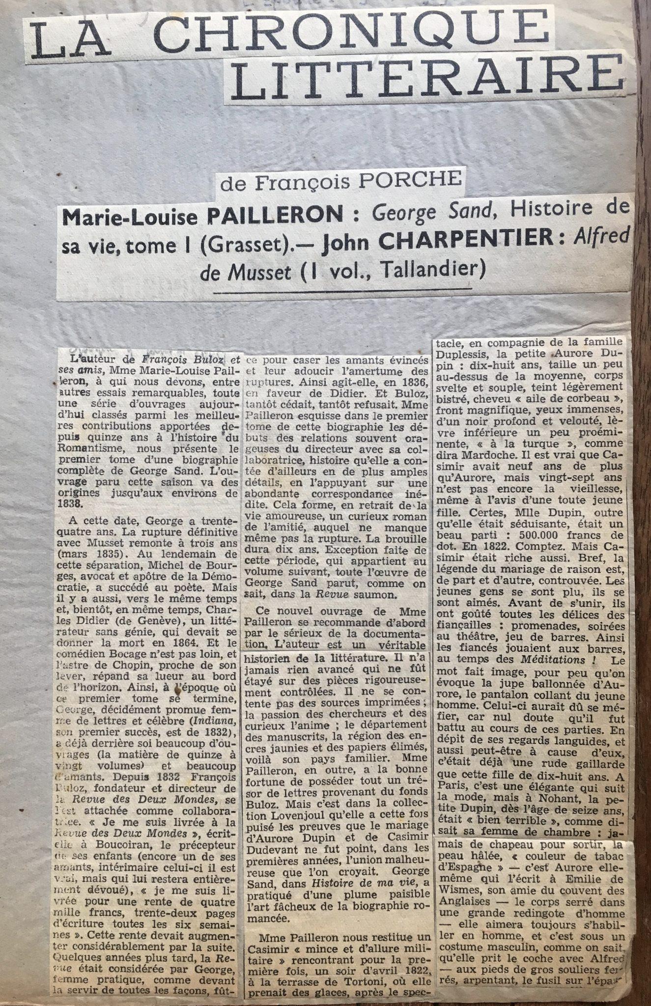 La chronique litteraire 1939