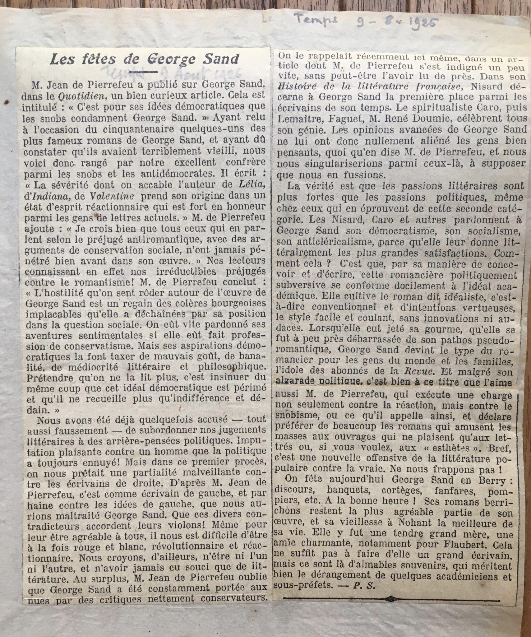Les fêtes de George Sand 1926