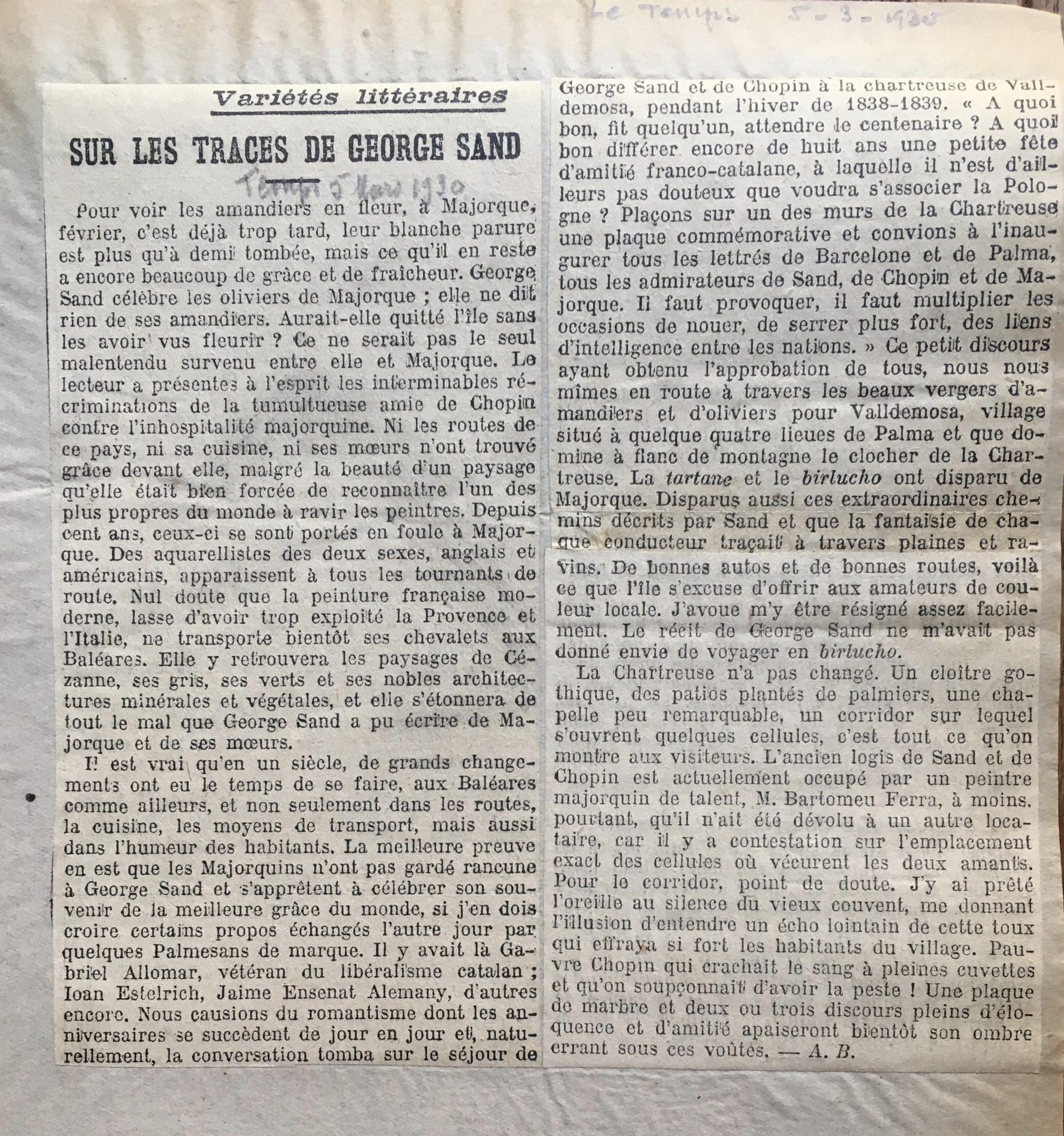 Sur les traces de George Sand 1930