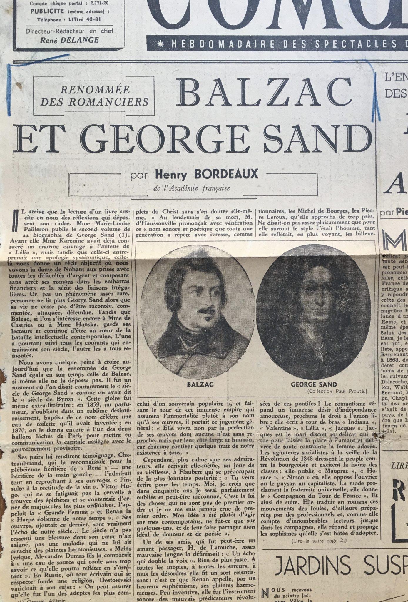 Balzac et George Sand 1943