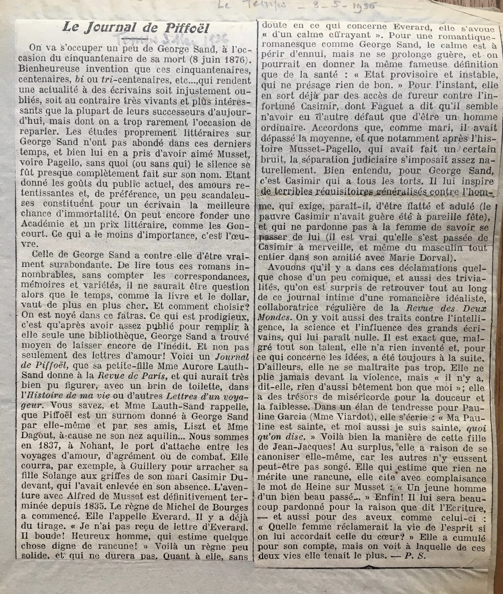 Le journal Piffoël 1935